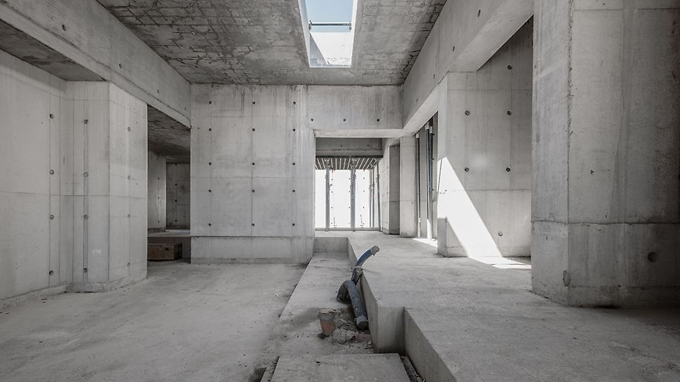 Quite literally, the structure pushes the boundaries of a 'simple square', as it comprises irregular angles in addition to varying floor heights throughout.  (Photo: seanpollock.com)