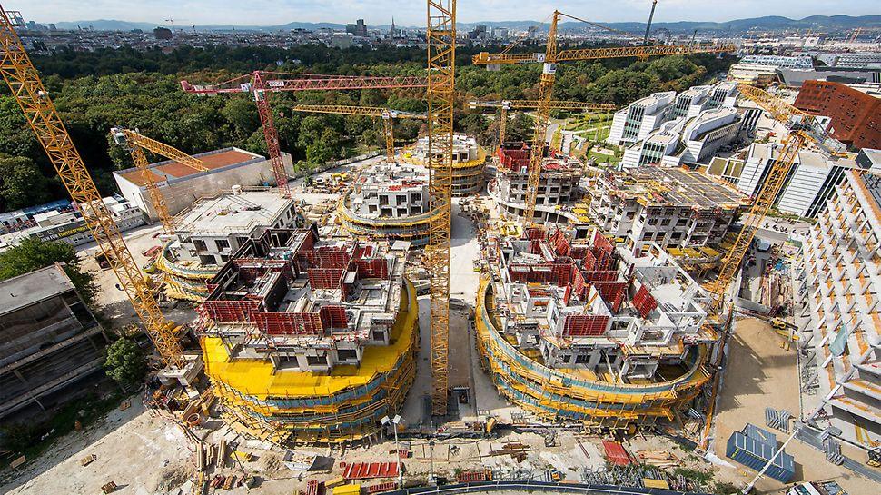 """Viertel Zwei – Rondo"" Obytný park: Přímo u Prátru ve Vídni probíhá výstavba nápadných obytných budov."