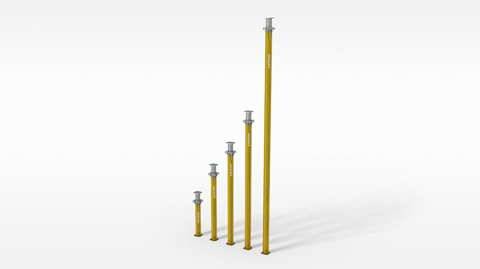 MULTIPROP Aluminium Slab Props: Used as a cost-saving lightweight individual prop and cost-effective shoring tower I bruk som kostnadsbesparende individuell lettvekt støtte og som forskalingstårn MULTIPROP dekkestøtte and MULTIPROP forskalingstårn PERI forskaling domino Trio Quatro søyle panel dekke vegg