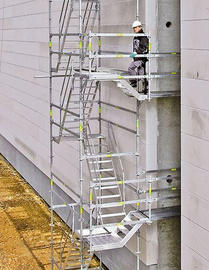 Die Anpassung an die Gebäudeöffnungen erfolgt mit kurzen Treppenläufen auf außen angehängten Konsolen – unabhängig von der Etagenhöhe.