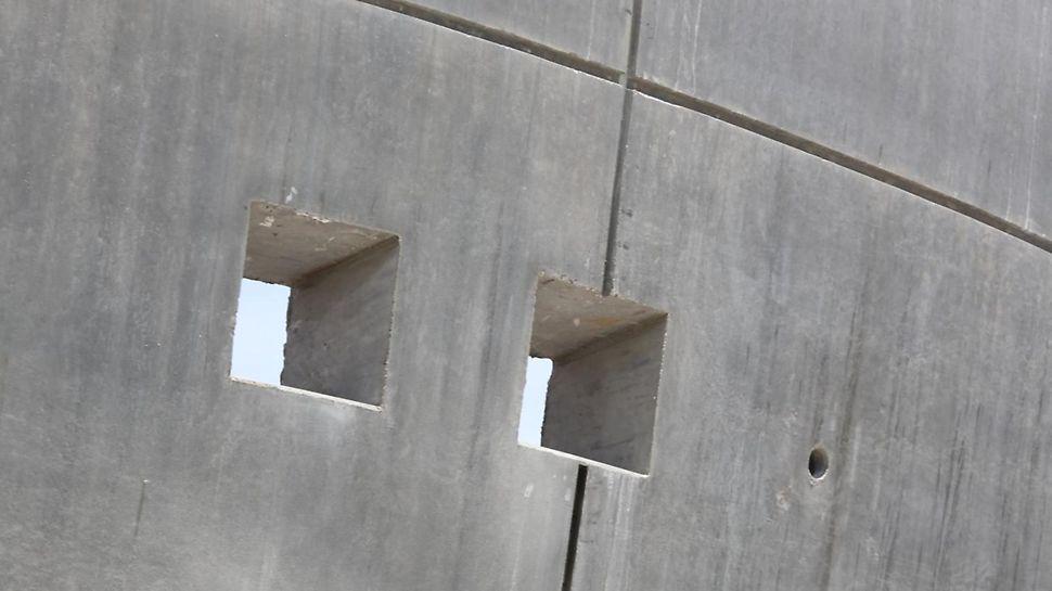 Sichtbetonqualität mit vorgegebenem Ankerraster.
