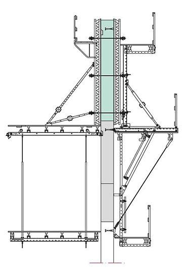 EL SCS también puede usarse para hormigonar a dos caras y con alturas de encofrado hasta 6 m. Así aumenta el grado de aprovechamiento del material y se reduce la logística