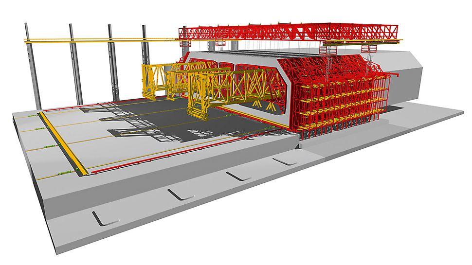 Hongkong-Zhuhai-Macao Bridge (HZMB), China - Die Herstellung des dreizelligen Querschnitts erfolgt im Taktschiebeverfahren mittels dreier Tunnelschalungen als horizontales Verschubwerk sowie stationärer Außen- und Bodenschalung.