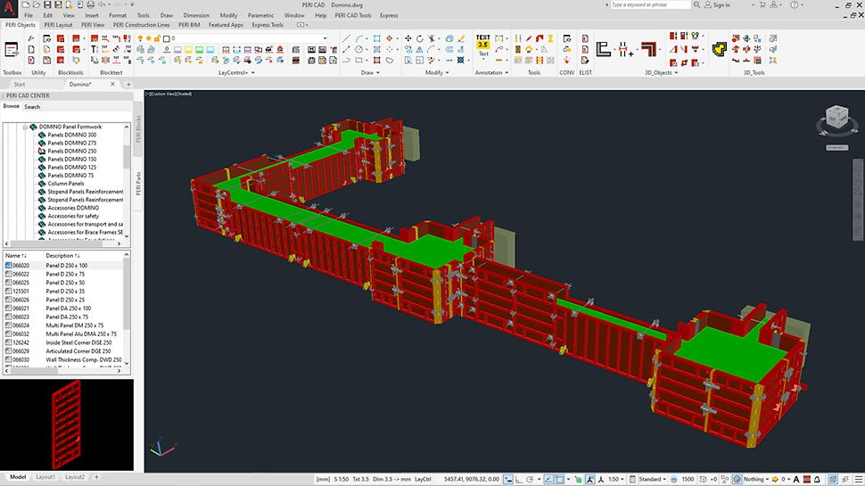 Find the PERI components in the PERI CAD Center you need to generate your individual formwork design in 3D.