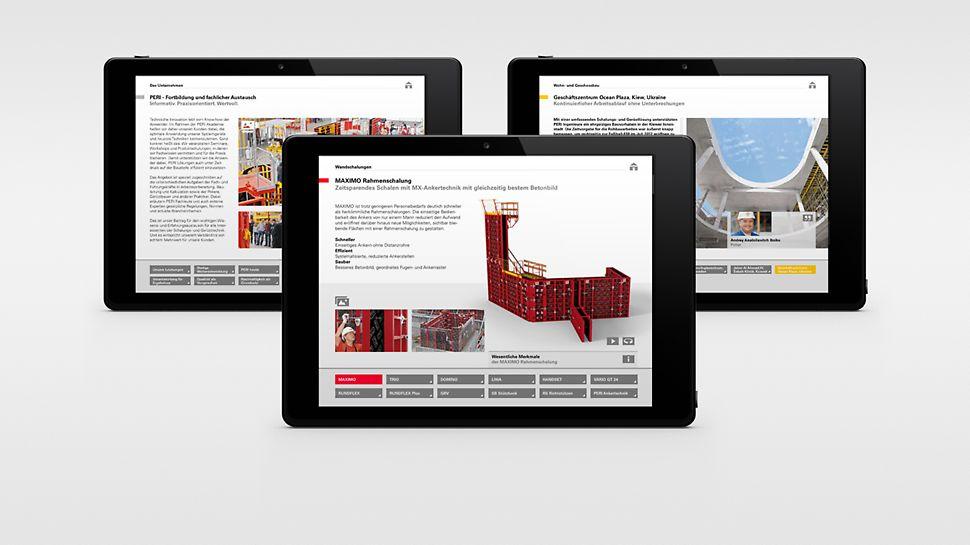 Skærmprint af PERI Håndbog App produktside