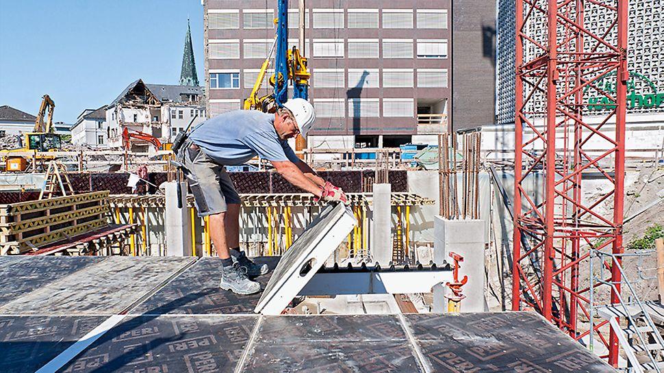 Optimierte Bauabläufe und schnelle Taktzeiten mit PERI MAXIMO Rahmenschalung, SKYDECK Deckenschalung und TRIO Säulenschalung.