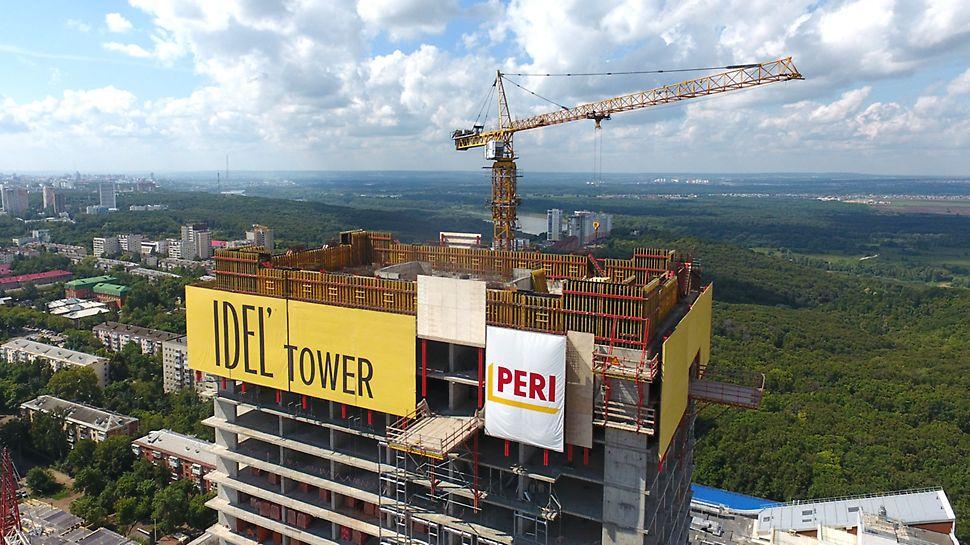 отвесная стена, идель тауэр, idel tower, консольно-переставная опалубка, переставные платформы