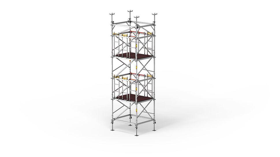Ondersteuningstoren met ingebouwde beveiliging voor verticale montage en demontage