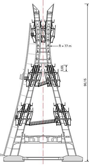Most Lekki Ikoyi: Důležitou součástí řešení se šplhavým bedněním PERI byla i přístupová technika se spojovací lávkou tzv. Catwalk a napojením na výtah.