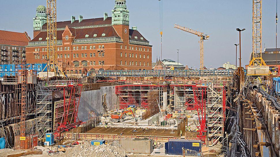 Městský tunel Malmö: Dno, stěny i strop mohly být s tunelovým bedněním PERI vyráběn v 10denním taktu.