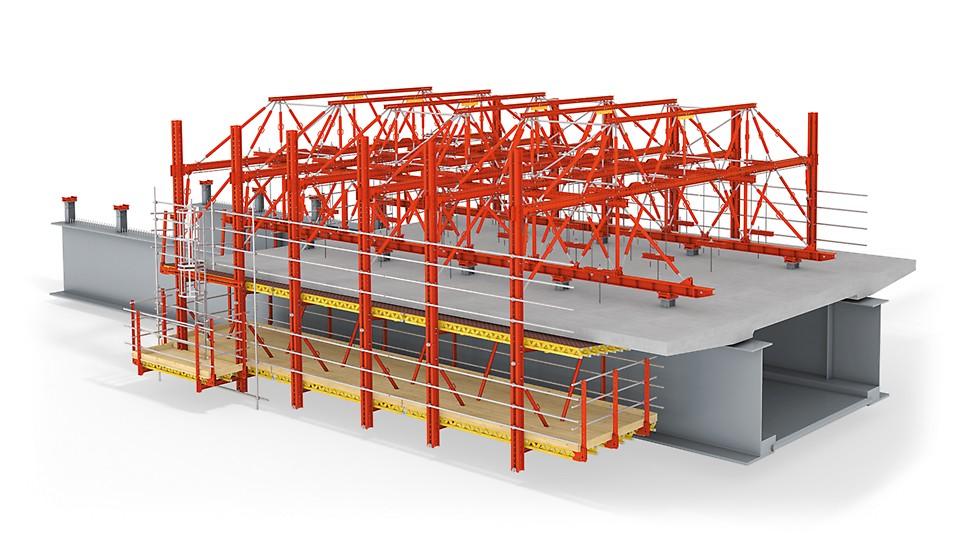 Bednicí vůz nasazený na ocelové spodní konstrukci pro výstavbu betonové části mostovky.