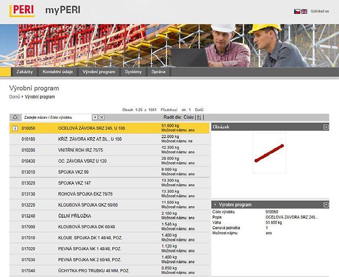 Online portál zobrazuje všechny výrobky PERI - trojrozměrně s přesným označením výrobků a jeho hmotností.