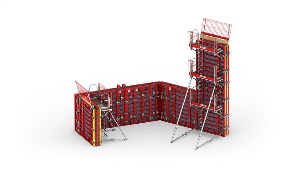 Aufbauvariante Wandschalungssystem MAXIMO mit Konsolensystem MXK bzw. Bühnensystem MXP für sicheres und schnelles Arbeiten.