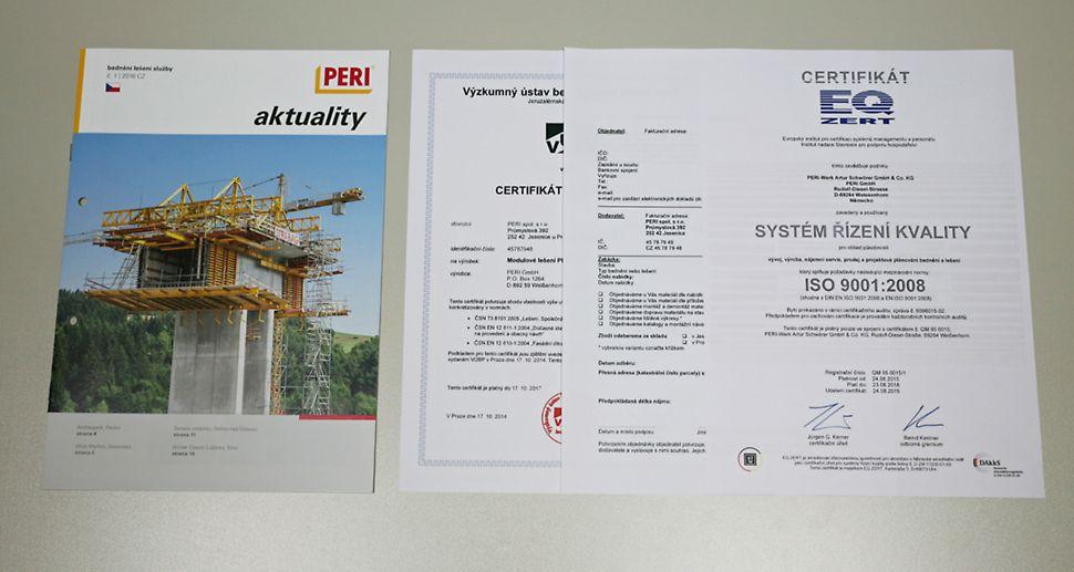 Ke stažení: Důležité dokumenty o společnosti, technické informace k jednotlivým systémům a prvkům PERI