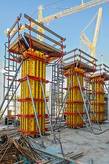 Säulenschalungen sind für einen relativ hohen Frischbetondruck auszulegen, da bei vergleichsweise geringem Querschnitt zügig betoniert wird. Der Schalungsträger GT 24, mit seiner hohen Tragfähigkeit, ist bei verschiedenen Säulenschalungssystemen im Einsatz.