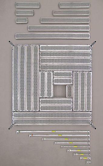 PERI UP Flex modulaire steiger: De UDI industriële vloerplaat is voor hoge belastingen ontworpen: op lengtes tot 200 cm is de toelaatbare belasting 10,0 kN/m². Grotere lengtes kunnen respectievelijk 7,5 kN/m² en 5,0 kN/m² dragen.
