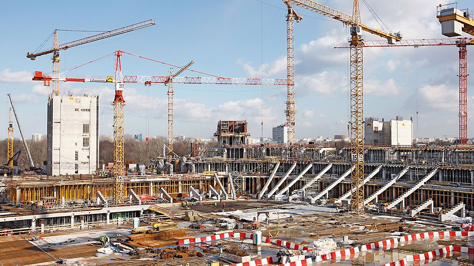 National stadium Kazimierz Górski, Warsaw, Poland - The construction of the 42 m high grandstand was realized using a combination of prefabricated and cast in-situ concrete elements.