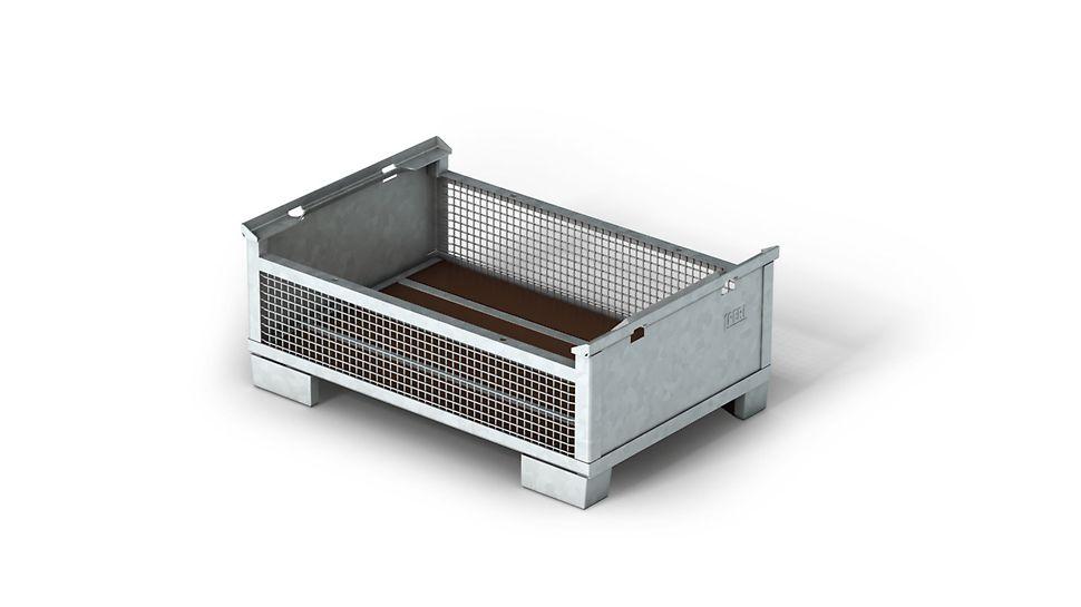 Stapelbare Kleinteilebox im Europalettenmaß mit zulässiger Tragfähigkeit von 1,5 t. Sie ist in verzinkter oder lackierter Ausführung erhältlich.