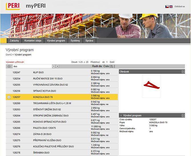 Zobrazení v myPERI s přehledem systému PERI