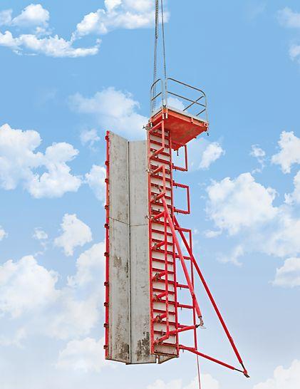 Die Säulenschalung QUATTRO lässt sich mit nur einem Hub komplett inklusive Richtstützen und Betonierbühne umsetzen.