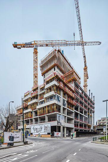 The One Brussels Europa: één van de meest prestigieuze vastgoedprojecten in Brussel. PERI levert hiervoor engineering, klimbekisting van de stijve kern en ondersteuningsoplossingen voor de terrassen.