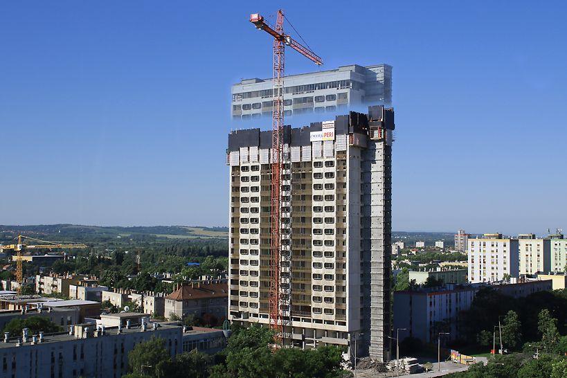 A speciális körülmények miatt az épület bontását biztonsági védőállványzat védelme mellett kellett elvégezni. A PERI mérnökei ebben nyújtottak hatékony megoldást a kivitelezőknek, az RCS P kúszó védőpalánk segítségével. (Fotó: Jakab Róbert, projektvezető)