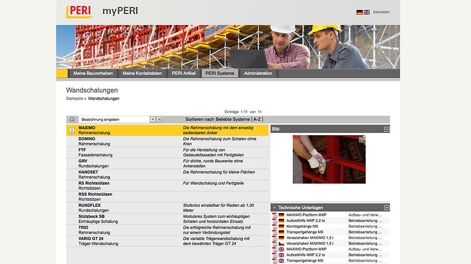 myPERI Benutzeroberfläche Downloadzenter der technischen Dokumentationen und Bilder zu Systemen