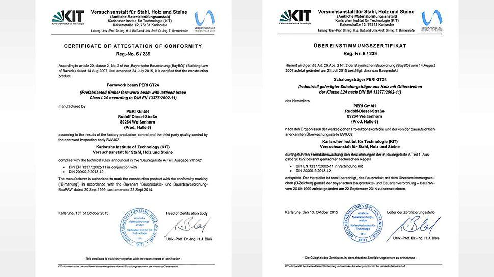 Le certificat de conformité démontre que la poutrelle GT 24 est conforme aux règles techniques de la norme DIN EN 13377 et qu'une surveillance continue de la production est assurée.