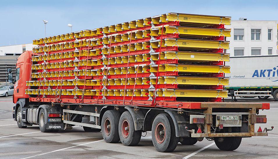 Durch die geringe Bauhöhe von nur 36 cm werden 20 % weniger Transport- und Lagervolumen benötigt als bei Deckentischen mit Jochen aus 20er Holzträgern. Die fest montierten Auflagerhölzer sorgen für den erforderlichen Schutz der Schalhaut im Stapel und beim Transport.