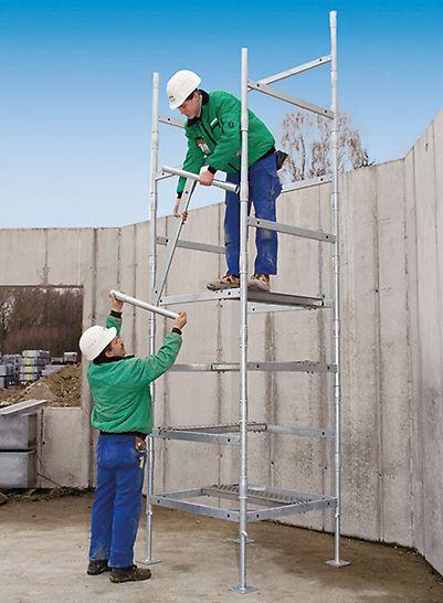 Jatkokehys, jolla muodostetaan erikorkuiset tornit, painaa vain 7 kg.