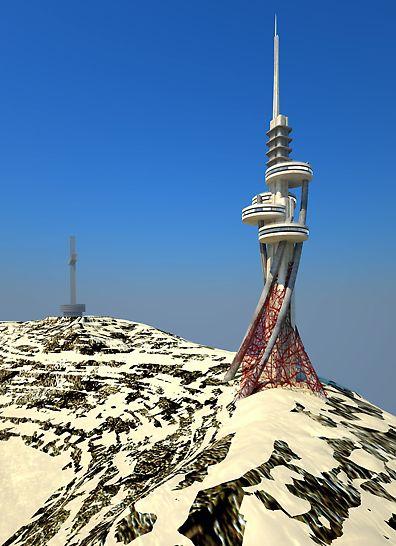 Telekomunikacioni toranj na planini Vodno iznad Skopja predstavlja veoma izazovan objekat za izvođenje zbog složene konstrukcije, koja mu obezbeđuje futuristički izgled.