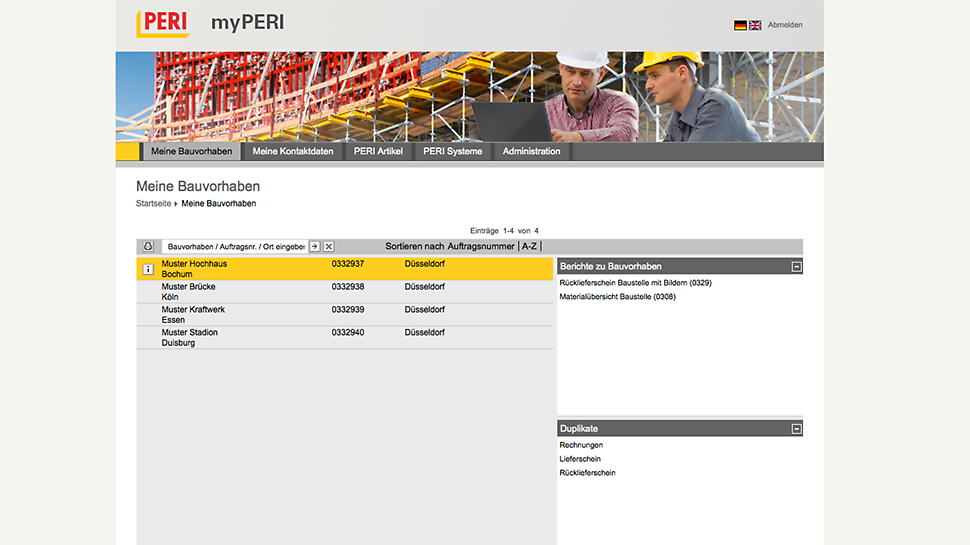 myPERI screen shot of the project overview functionality