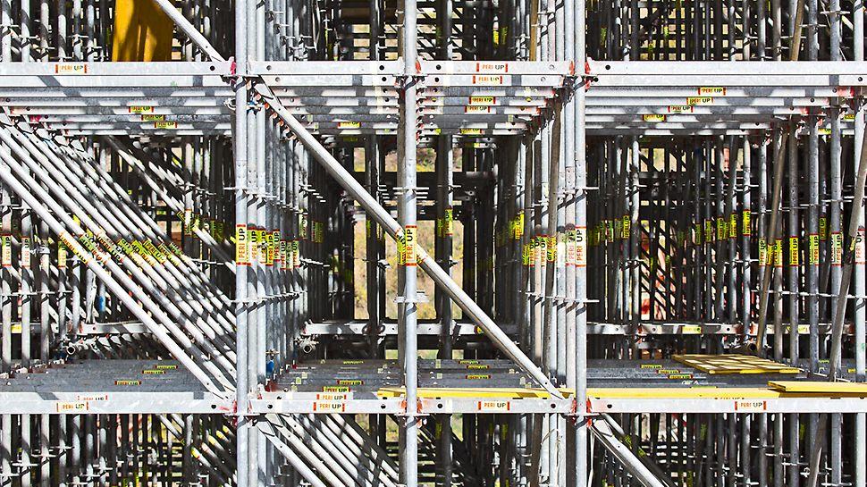 Durch die Halbierung des 150-cm-Grundrasters mit 75 cm langen Horizontalriegeln wird mit PERI UP Rosett Flex eine optimale Systemanpassung bei Lastkonzentrationen erreicht.