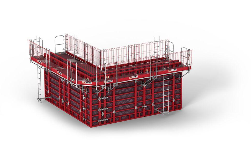 Az MXK betonozó konzol rendszer nagyfokú védelmet biztosít, alacsony szerelési ráfordítással. A könnyű rendszerelemek a talajon kézzel összeszerelhetők.