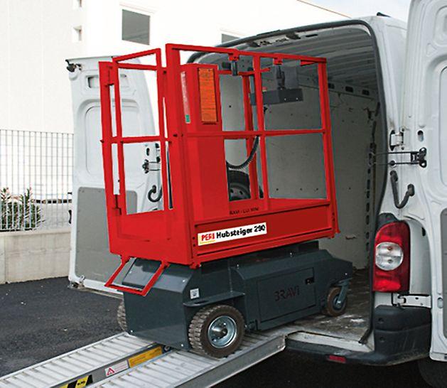 Die Grundfläche des Fahrgestells hat die Abmessungen einer Europalette. Er ist sehr leicht und kann Steigungen bis 35 % einfach überwinden und lässt sich daher problemlos transportieren.