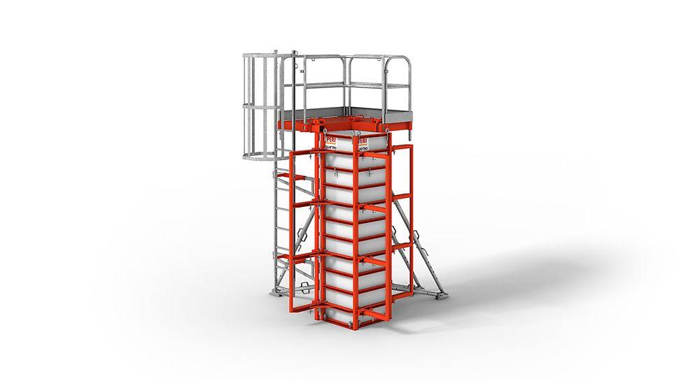Die Säulenschalung zum Umsetzen in einem Kranhub.