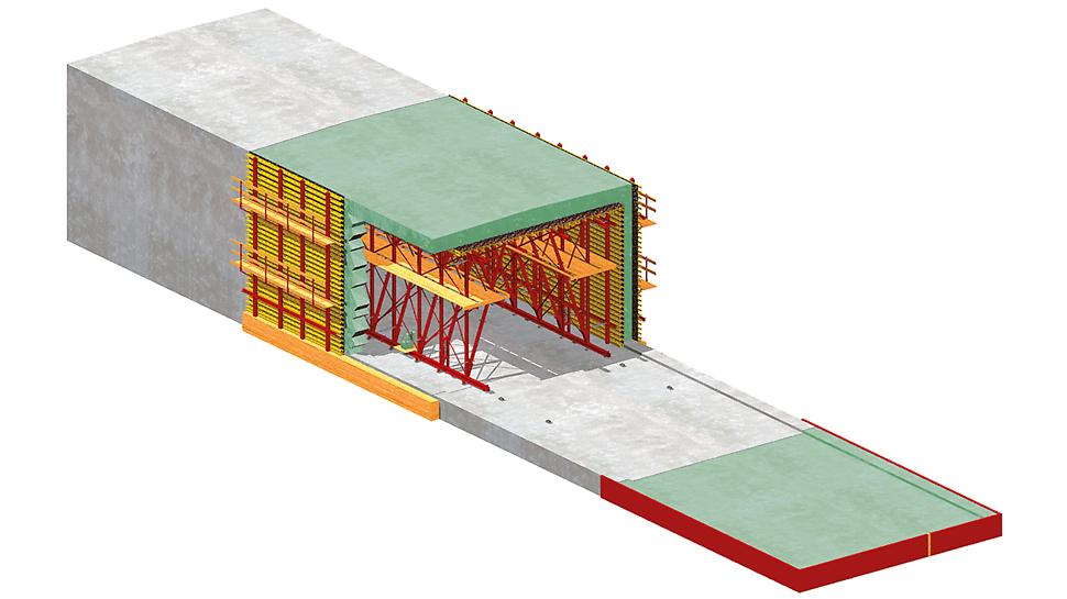 Schéma hloubeného tunelu s částečnou monolitickou konstrukcí - varianta č. 1
