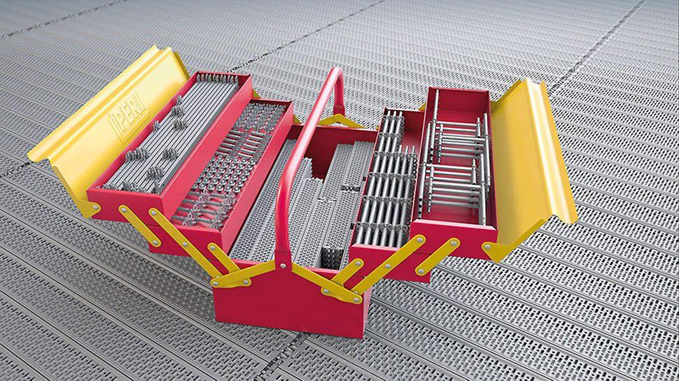 PERI UP Gerüstbaukasten: Die Integration von Rahmen- und Modulgerüst zu einem einheitlichen, konstruktiv durchgängigen Systemgerüst