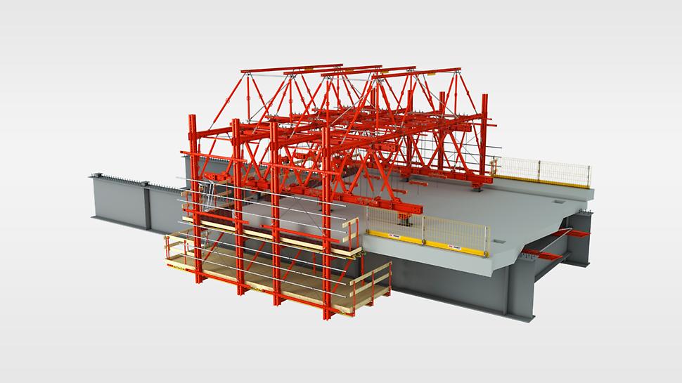VARIOKIT stavebnica pre mosty - náhľad debniaceho vozíka a rímsovej konzoly