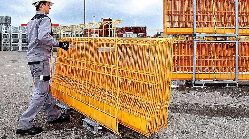 El palet PROKIT puede cargar 25 rejas, facilita la logística y montaje de la protección contra caídas.
