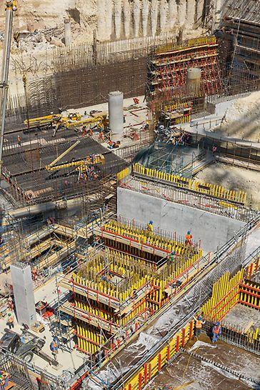 Stanice metra Msheireb, Dauhá: Složitý tvar stavby se železobetonovými stropy s tloušťkou místy až 3 m a se stěnami o tloušťce do 2 m vyžadoval zcela individuálně řešenou koncepci.