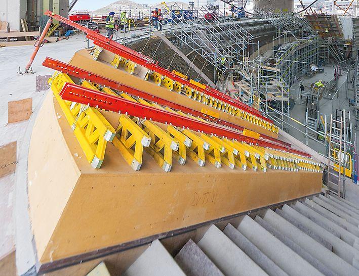 3D bekistingen op maat: Tijdens de engineeringsfase wordt zoveel mogelijk gebruik gemaakt van standaard huurcomponenten, zoals GT 24 dragers en SRU gordingen