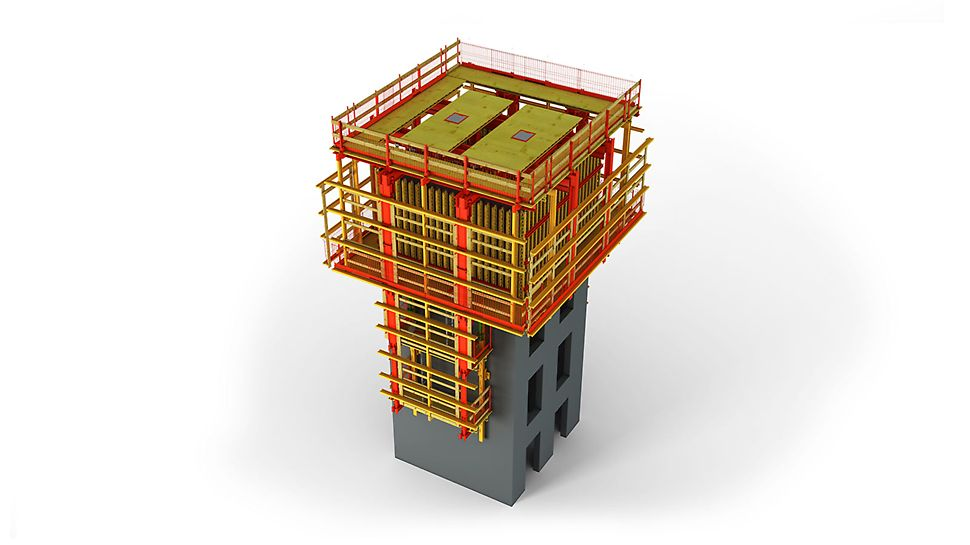 ACS P – rešenje za izradu jezgra višespratnice nezavisno od ostale konstrukcije I građevina u formi tornja – kombinovana sa ACS G. Obe strane oplate se kače na konzolne nosače platforme.