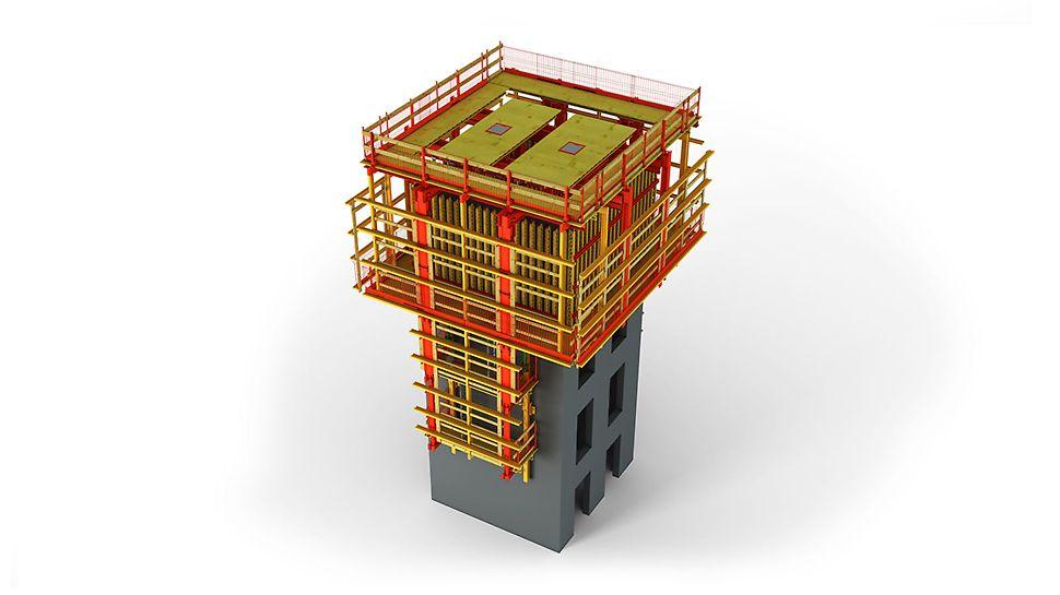 ACS P : la solution pour noyaux d'immeubles réalisés à l'avancement et ouvrages type tour, en combinaison avec ACS G. Les deux faces du coffrage sont suspendues, tout en étant mobiles, aux supports de plate-forme en encorbellement.