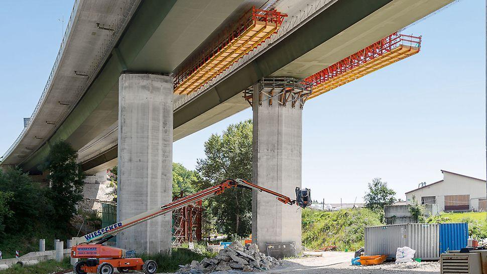 Immensitzbrücke A81, Geisingen | Einfach und schnell: 10 m Gesimskappe täglich