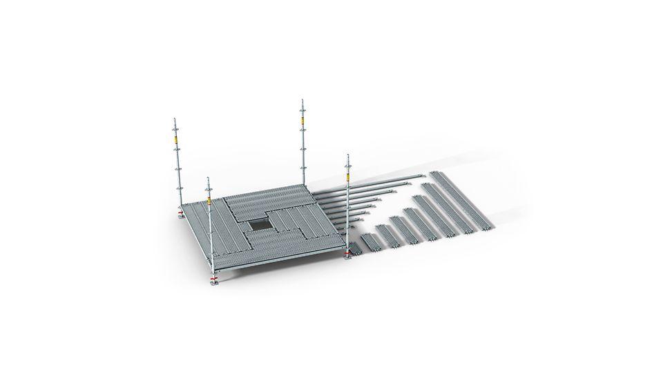 A PERI UP Flex rendszer rasztere 25 cm és 50 cm. A változatos, 25 cm hosszúságtól induló hevederek lehetővé teszik a járótáblák tetszőleges irányban történő fektetését. Ez a projektspecifikus geometriákhoz maximális igazíthatóságot biztosít - csőbilincsek használata nélkül.