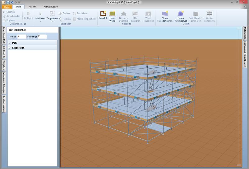 Die Software erlaubt sowohl das Planen von PERI Gerüsten an der Fassade als auch im Raum.