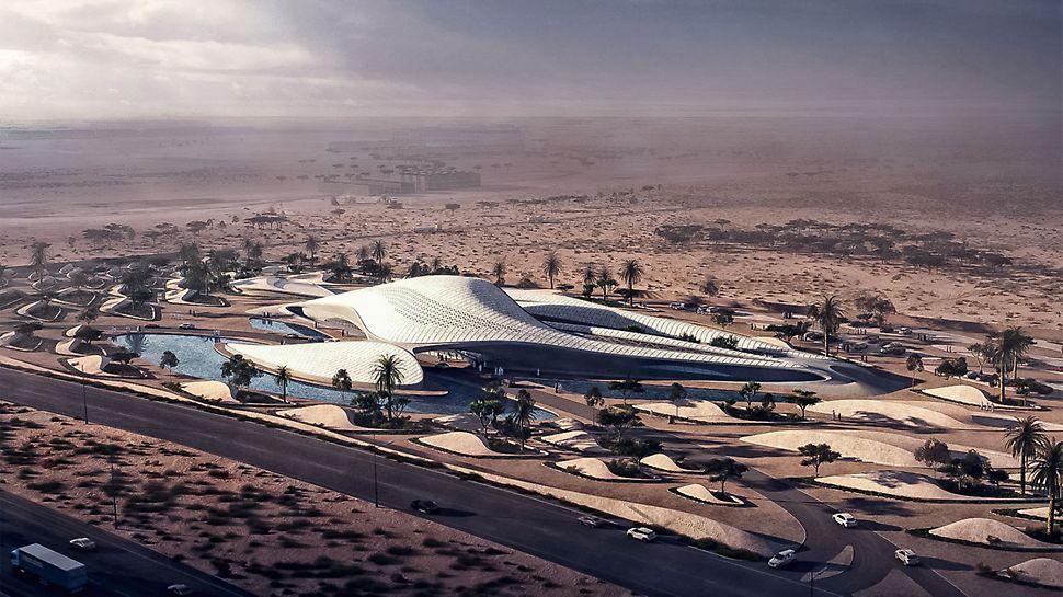Nach den Plänen der berühmten Architektin Zaha Hadid entsteht derzeit der neue Hauptsitz des Umweltunternehmens Bee'ah. Das futuristische Bauwerk mit der komplexen Gebäudestruktur wurde nach dem Vorbild einer Sanddüne entworfen. (Quelle: www.zaha-hadid.com)