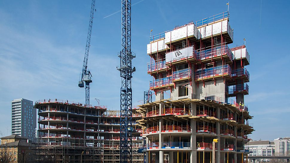 New Providence Wharf will consist of 45 floors using a variety of PERI systems