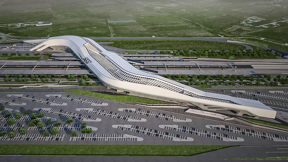 """Nádraží """"Porta del Sud"""": Nádraží projektované britskou architektkou iráckého původu Zahou Hadid, připomínající svým tvarem most, se vznáší 30 metrů nad kolejemi a vzájemně je propojuje. Toto nádraží futuristického vzhledu tak funguje jako brána Neapole. (Foto: Zaha Hadid Architects)"""